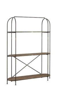 J-LINE :: Regał Shelves Rounded, metal, drewno, 201,5x151x42 cm (JL90320)