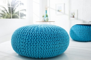 Interior :: Pufa podnóżek Ball knitted turkus dzianina 70cm (Z37381)