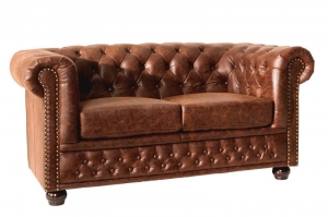Interior :: Sofa Chesterfield 2os brąz skóra 150cm (Z37201)
