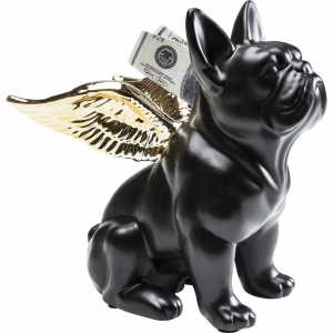 Kare Design :: Skarbonka Pies Sitting Angel Dog Gold-Black (38540)
