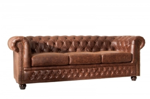 Interior :: Sofa Chesterfield 3os skóra brąz 200cm (Z37202)