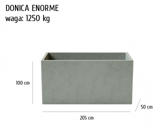 Donica betonowa Enorme, szary, antracyt, 205x50x100 cm, www.h-design.png