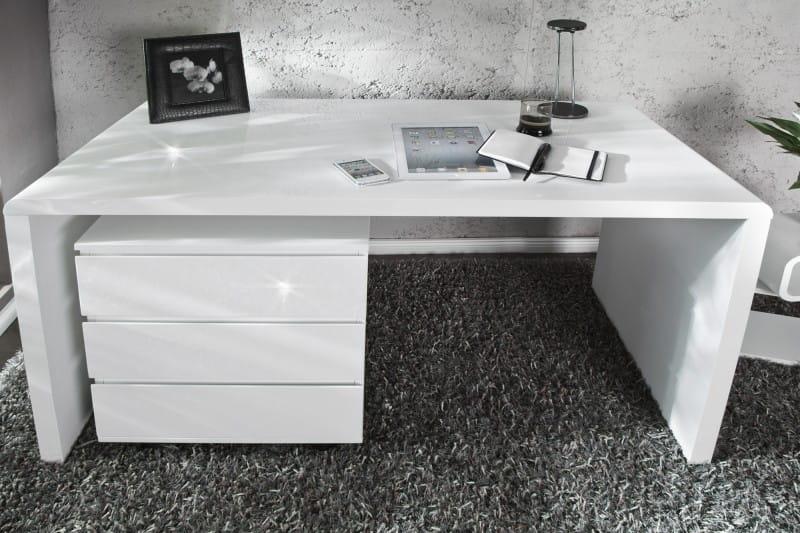 Interior Biurko Shine On 120x60cm Białe Wysoki Połysk Z15806