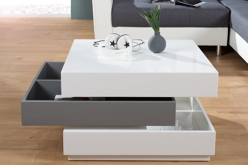 interior stolik kawowy cube poziomowy bia y szary p yta mdf wysoki po ysk 45cm z37662. Black Bedroom Furniture Sets. Home Design Ideas