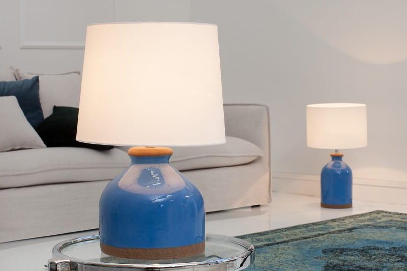 Interior Lampa Stołowa Blue Classy Niebieska Ceramiczna 50cm